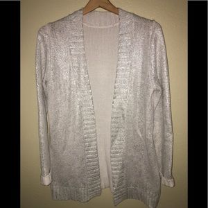 Sweaters - Silver toned open cardigan